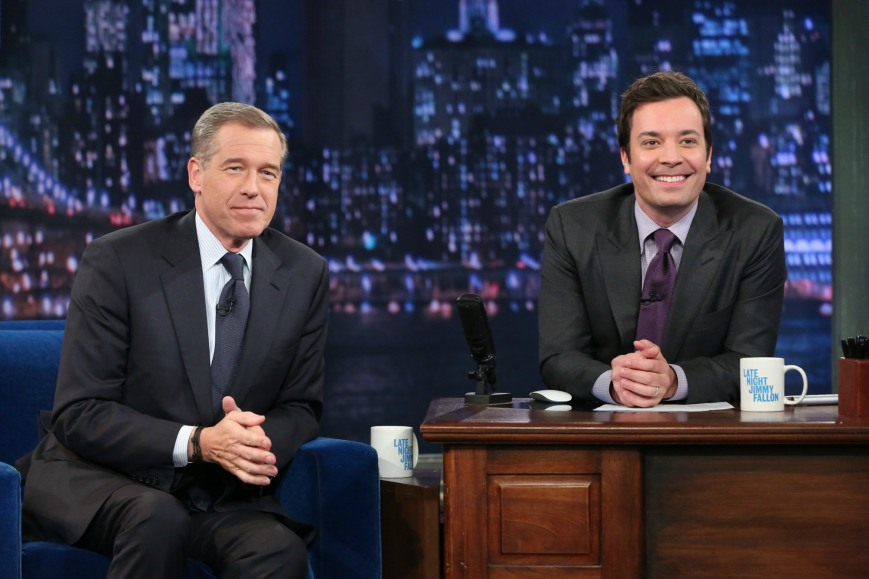 Brian Williams on The Tonight Show with Jimmy Fallon (photo courtesy NBC)