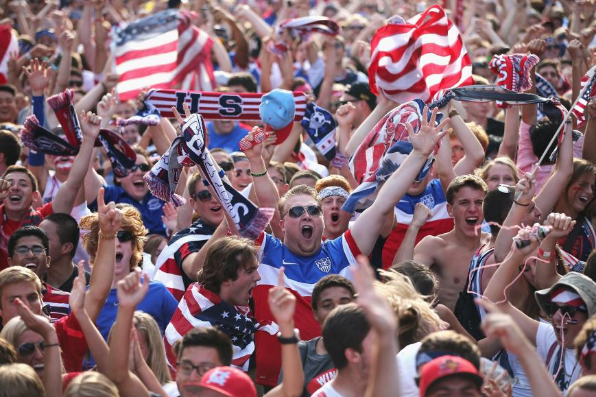 Fans celebrate as the US moves on to the last 16 in the 2014 FIFA World Cup (Photo: courtesy of nbcnews.com)