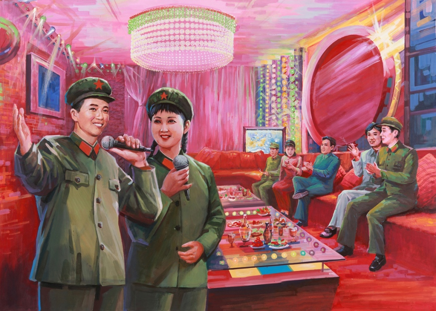 Official PLA propaganda depicting uniformed soldiers singing karaoke in colorful, brightly light night club (Photo: courtesy of theverge.com)