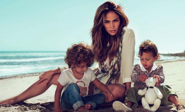 Jennifer Lopez poses for Gucci children's campaign with her 6 year old twins, Max and Emme.